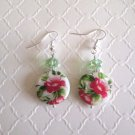 New! Handmade Flower Printed Round Shell & Green Crystal Silver Tone Earrings