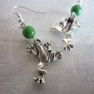 Handmade Silver Frog Charm and Opaque Green Druk Bead Earrings, Free US Shipping