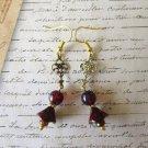 Dark Red Picasso Flower & Druk Glass Bead Art Nouveau Style Gold Tone Earrings.