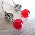 Handmade Red Ruby Gemstone Beads and Silver Filigree Charm Earrings, Free Ship!