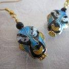Handmade Blue, Black & Gold Chinese Mask Cloissone Earrings, Free U.S. Shipping!