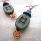 Light Blue Czech Picasso Dotted Oval Glass Hand Formed Copper Wire Earrings.