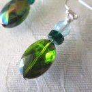 Handmade Nostalgic Green Oval Glass & Light Blue Czech Druk Silver Tone Earrings