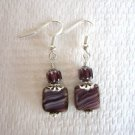 White Laced Purple Czech Glass Square & Cathedral Bead Silver Tone Earrings