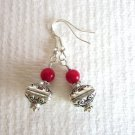 Handmade Embellished Silver Treasure Box and Red Coral Gemstone Bead Earrings