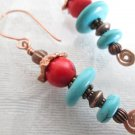 Handmade Round Red & Blue Turquoise Heishi and Hand Formed Copper Wire Earrings