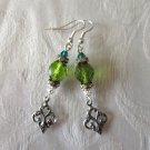 Light Green Czech Fire Polished Glass & Silver Fleur de Lys Charm Earrings