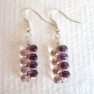 Handmade Purple and Pink Czech Glass Drop Silver Tone Earrings, Free U.S. Ship!