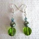 Handmade Flat Round Retro Green Glass and Moss Green Glass Pearl Silver Earrings