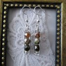 Handmade Grey & Brown Czech Bead Hand Hammered Rectangle Silver Tone Earrings