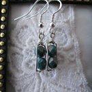 Handmade Greyish Green Czech & Hand Hammered Rectangle Silver Tone Earrings