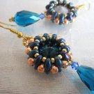 Bead Stitch Earrings, Blue Rivoli Glass in Copper Rose Gold & Indigo Blue Bezel