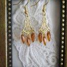 Honey Amber Brown Czech Glass Drop Dagger Gold Tone Chandelier Earrings