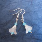Frosted White Czech Glass Flower and Powder Blue Crystal Silver Tone Earrings