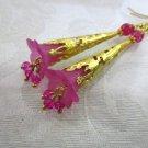 Handmade Fuchsia Pink Flower and Crystal Long Filigree Gold Tone Earrings