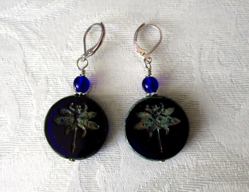 Cobalt Blue Czech Dragonfly Coin Glass Bead Silver Tone Lever Back Earrings