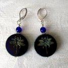 Cobalt Blue Czech Dragonfly Coin Glass Bead Silver Tone Lever Back Earrings