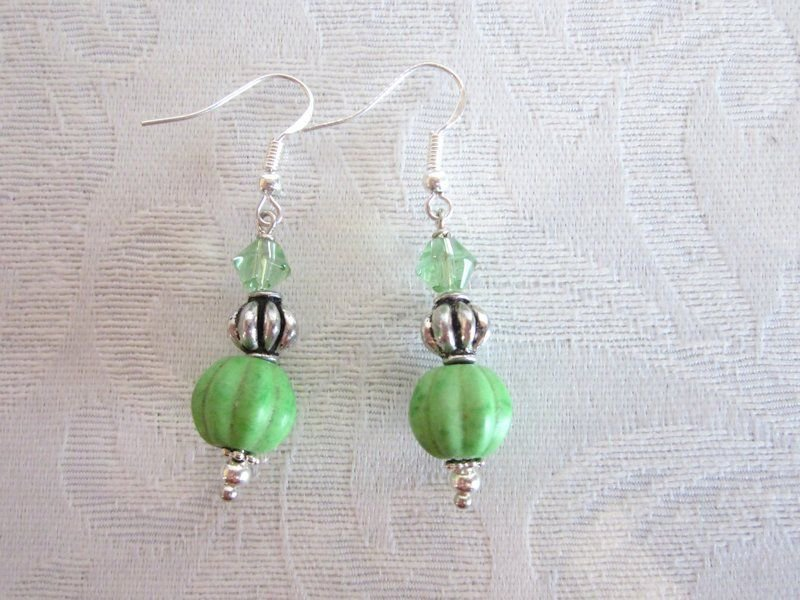 Handmade Green Stone Fluted Melon Bead and Faceted Glass Silver Tone Earrings