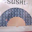 "NIP White & Blue SUSHI Character Print Paper & Bamboo Foldable Fan, 8"" Free Ship"