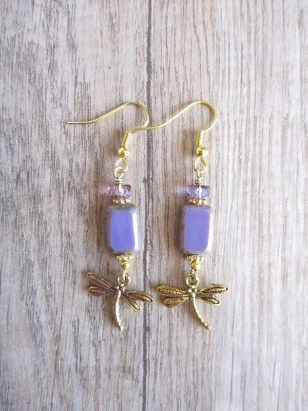 Handmade Lavender Purple Rectangle Czech Glass & Gold Dragonfly Charm Earrings .