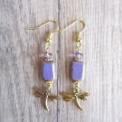 Handmade Lavender Purple Rectangle Czech Glass & Gold Dragonfly Charm Earrings .