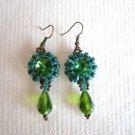 Bead Stitch Earrings, Light Green Rivoli Glass Bead in Emerald Green & Copper