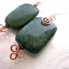 Handmade Dark Green Rounded Rectangle Azurite Chrysocolla Copper Wire Earrings.