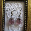 Light Purple Gem Cut Square Glass and Round Druk Bead Antique Bronze Earrings