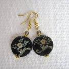 Handmade Black & Gold Flower Print Flat Round Shell & Czech Glass Earrings.