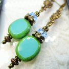 Turquoise Blue Czech Glass & Clear Fire Polished Bead Antique Bronze Earrings