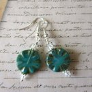 Handmade Blue Carved Coin Czech Glass and Crystal Sterling Silver Earrings