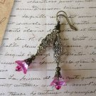 Fuchsia Pink Czech Glass Flower & Antique Gold Art Nouveau Style Charm Earrings