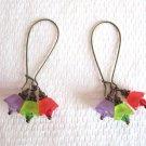 Red, Purple & Green Tulip Flower Bouquet and Crystal Long Hoop Broze Earrings