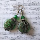 Round Dark Green Cultured Sea Glass / Beach Glass & Bronze Filigree Earrings
