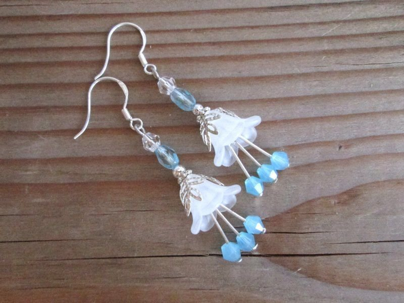 Handmade Frosted White Acrylic Flower & Light Blue Crystal Silver Tone Earrings