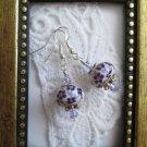 Handmade Purple Flower Print White Ceramic Bead & Crystal Silver Tone Earrings