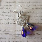 Handmade Silver Sheen Blue Glass Drop and Square Filigree Charm Earrings