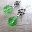 Light Green Faceted Czech Glass Drop and Filigree Charm Silver Tone Earrings