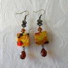 Yellow Flower Print Square Shell & Brown Czech Glass Drop Bronze Tone Earrings.