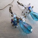 Blue Faceted Glass Drop Druk Bead and Crystal Antique Bronze Tone Earrings