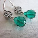Emerald Green Faceted Czech Glass Drop and Filigree Charm Silver Tone Earrings