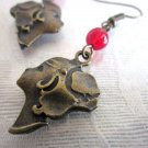 The 30's Short Hair Girl Charm and Red Czech Glass Beads Antique Bronze Earrings
