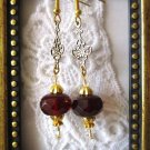 Deep Red Czech Glass Crystal and Art Nouveau Style Charm Gold Tone Earrings