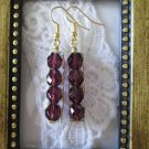 Handmade Purple Czech Fire Polish Glass in Hammered Frame Gold Tone Earrings