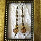 Handmade Amber Brown Czech Glass Art Deco Style Antique Bronze Chic Earrings.