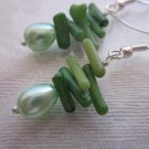 Handmade Green Coral Chips & Egg Shaped Pearl Silver Tone Summer Earrings