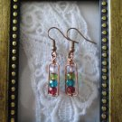 Handmade Czech Colorful Cathedral Glass and Hand Hammered Frame Copper Earrings