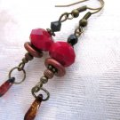 Handmade Deep Red Faceted Crystal Antique Bronze Tone Drop Earrings