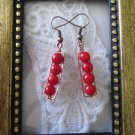 Handmade Opaque Red Coral Beads and Hand Hammered Frame Copper Tone Earrings