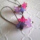 Handmade Pink & Purple Flower & Crystal Bourquet Long Hoop Bronze Tone Earrings